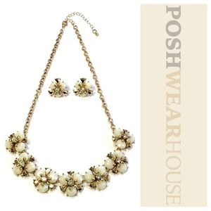 Jewelry - Pearl & Crystal Statement Earring & Necklace Set